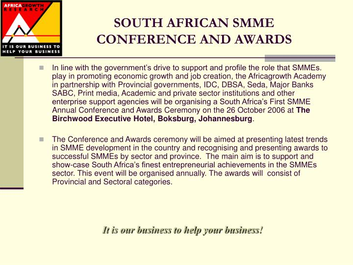 South african smme conference and awards