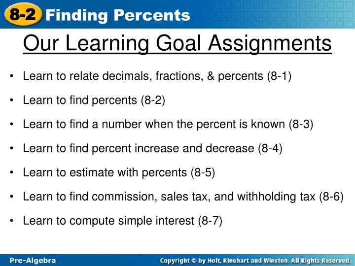 Our learning goal assignments