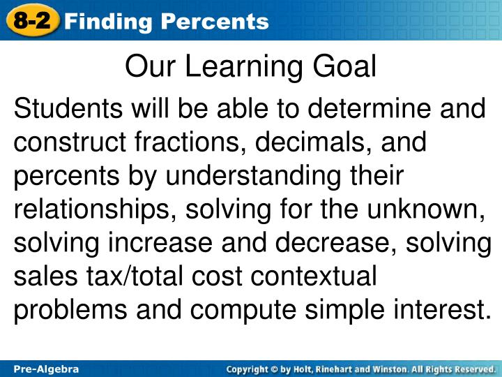 Our learning goal