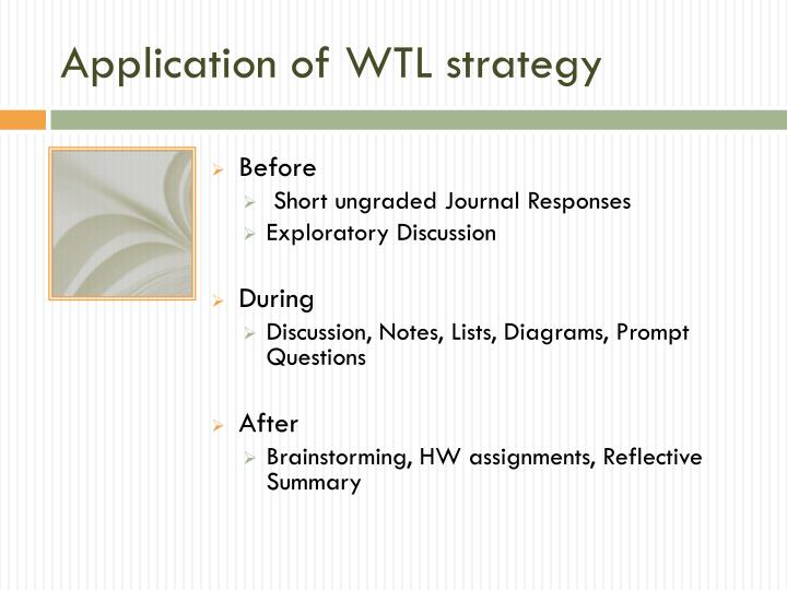 Application of WTL strategy
