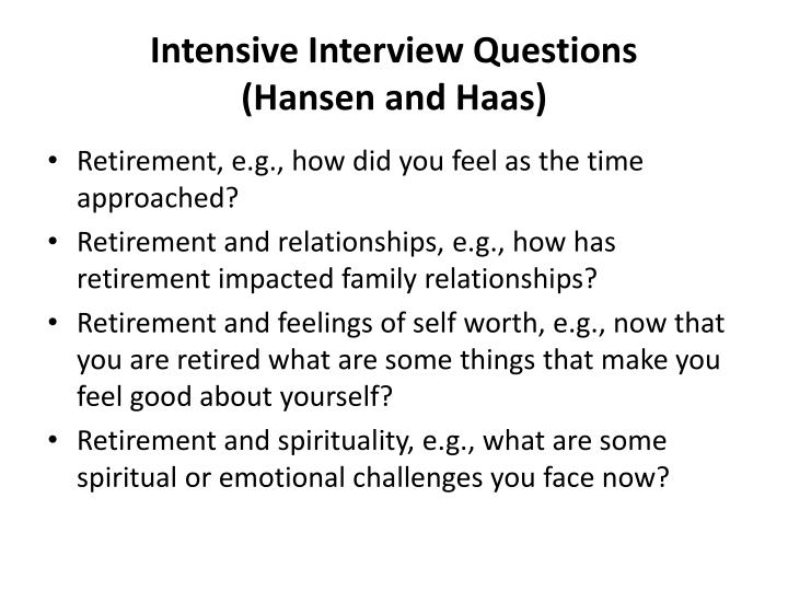 Intensive Interview Questions