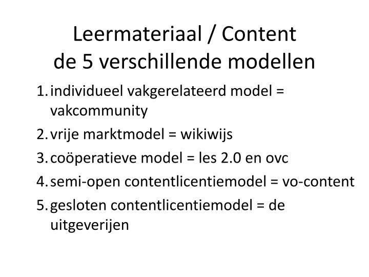 Leermateriaal / Content
