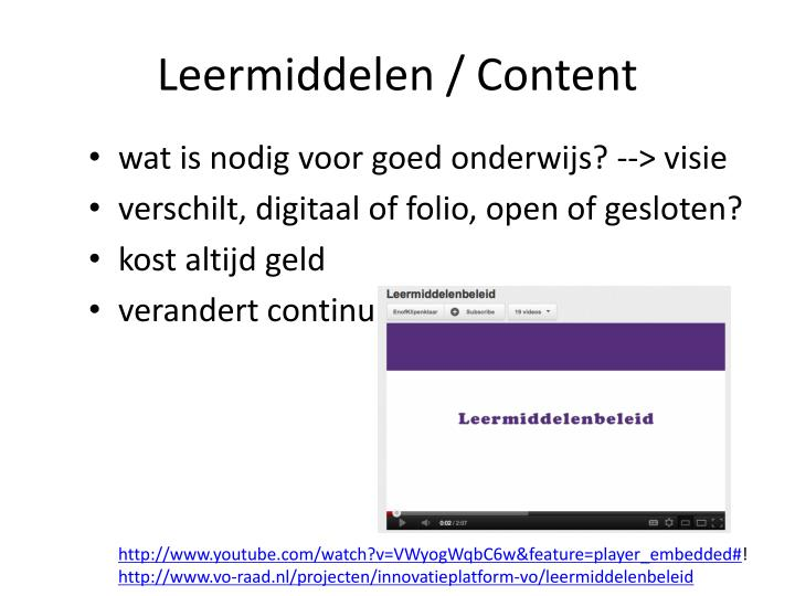 Leermiddelen / Content