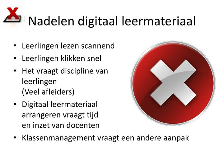 Nadelen digitaal leermateriaal