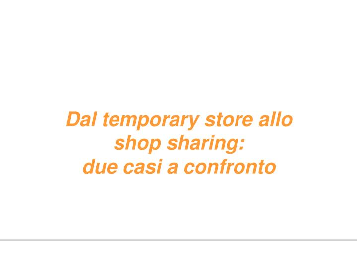 Dal temporary store allo shop sharing: