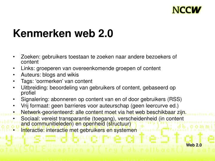 Kenmerken web 2.0