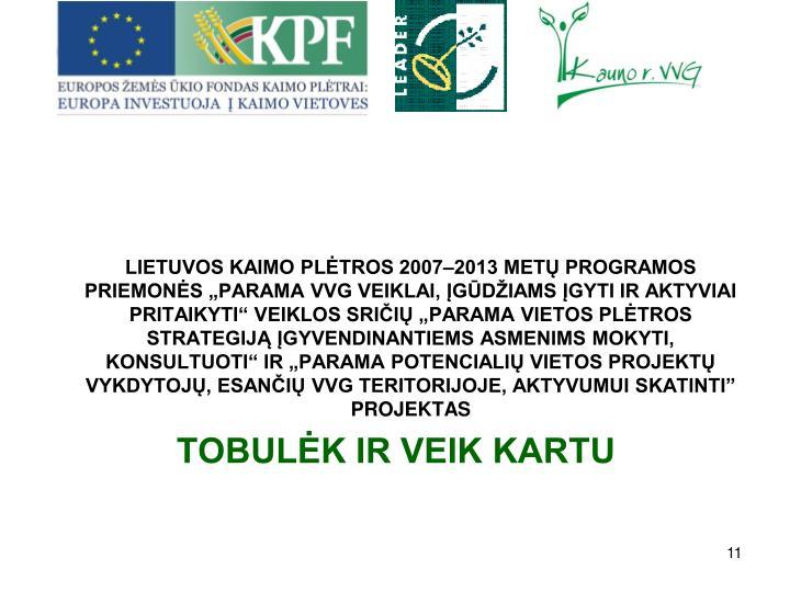 LIETUVOS KAIMO PLTROS 20072013 MET PROGRAMOS PRIEMONS PARAMA VVG VEIKLAI, GDIAMS GYTI IR AKTYVIAI PRITAIKYTI VEIKLOS SRII PARAMA VIETOS PLTROS STRATEGIJ GYVENDINANTIEMS ASMENIMS MOKYTI, KONSULTUOTI IR PARAMA POTENCIALI VIETOS PROJEKT VYKDYTOJ, ESANI VVG TERITORIJOJE, AKTYVUMUI SKATINTI PROJEKTAS