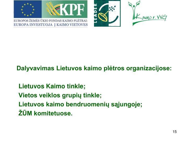 Dalyvavimas Lietuvos kaimo pltros organizacijose: