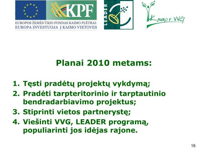 Planai 2010 metams: