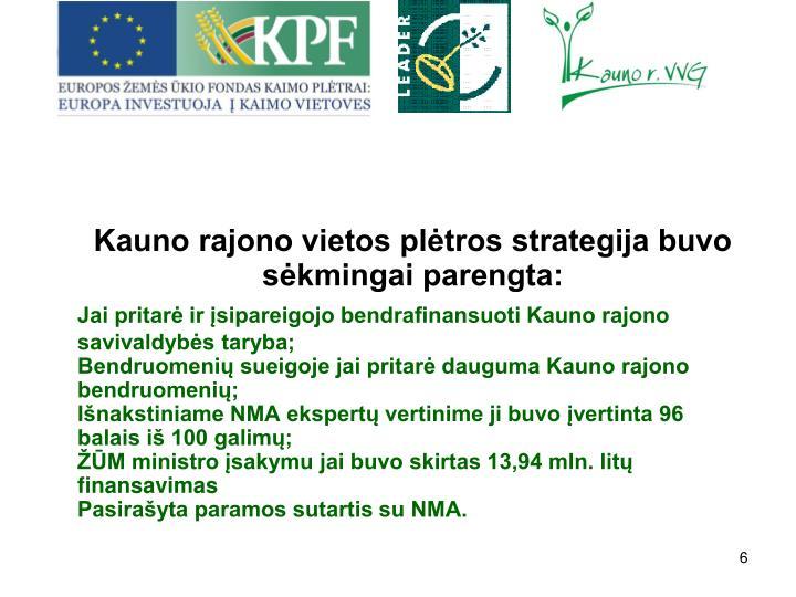 Kauno rajono vietos pltros strategija buvo skmingai parengta: