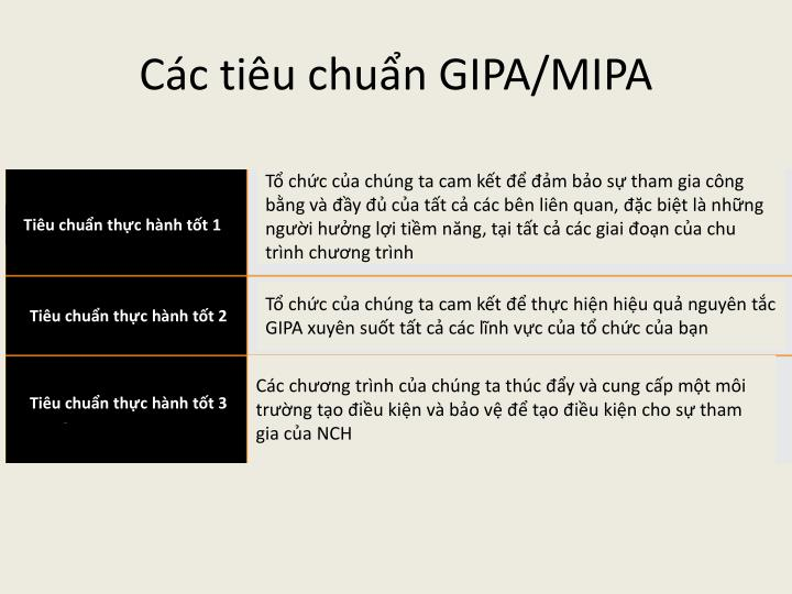 Các tiêu chuẩn GIPA/MIPA