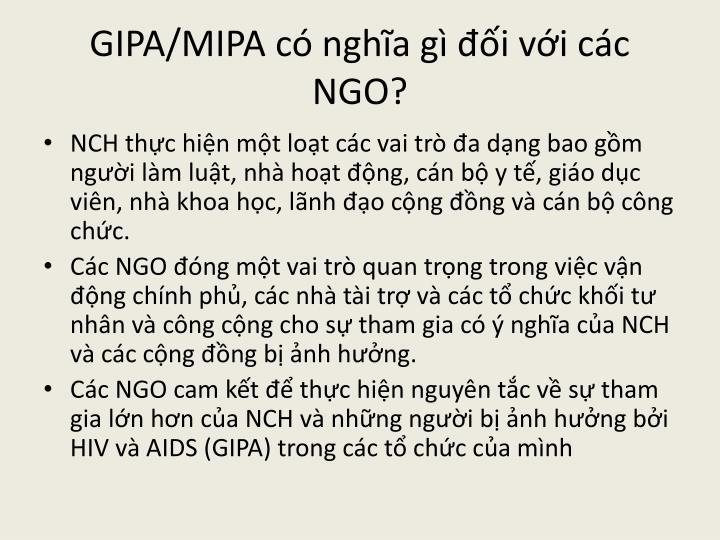 GIPA/MIPA có nghĩa gì đối với các NGO?