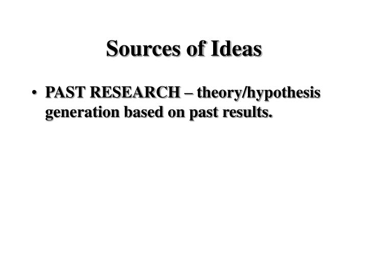 Sources of Ideas