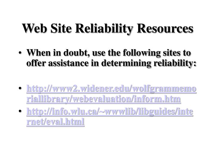 Web Site Reliability Resources