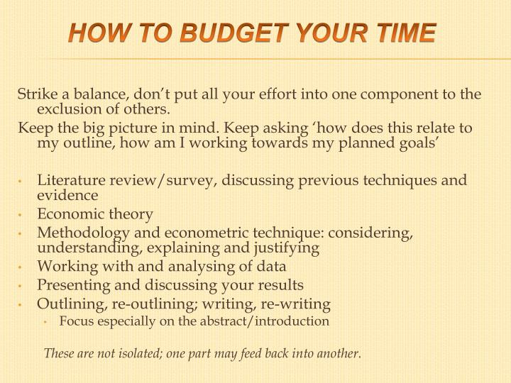 How to budget your time