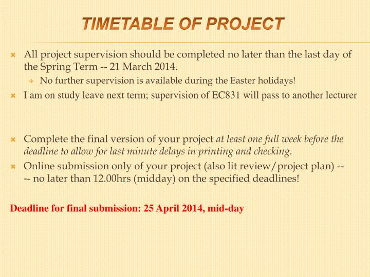 Timetable of project