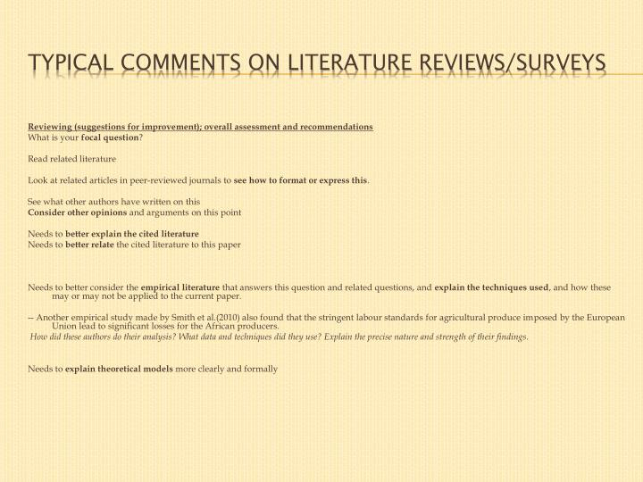 Typical comments on literature reviews/surveys