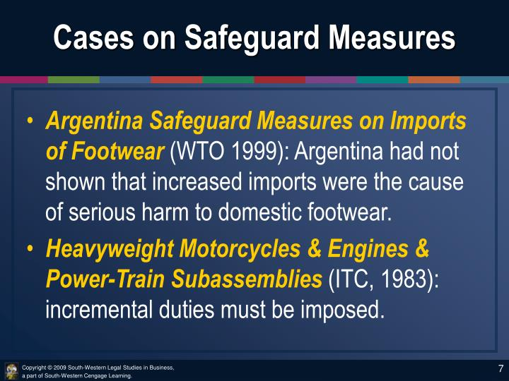 Cases on Safeguard Measures