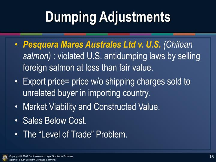 Dumping Adjustments
