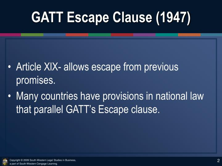 Gatt escape clause 1947