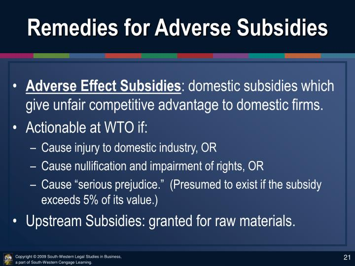 Remedies for Adverse Subsidies