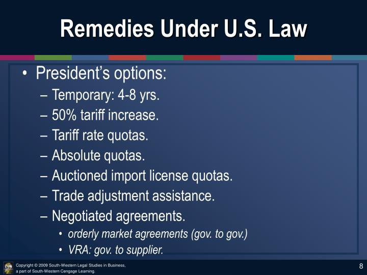 Remedies Under U.S. Law