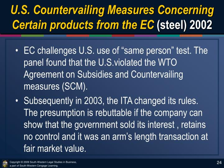U.S. Countervailing Measures Concerning Certain products from the EC