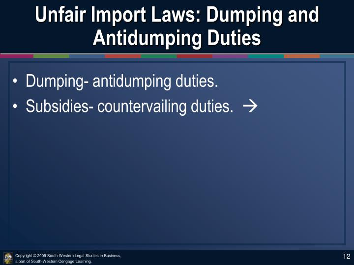 Unfair Import Laws: Dumping and Antidumping Duties