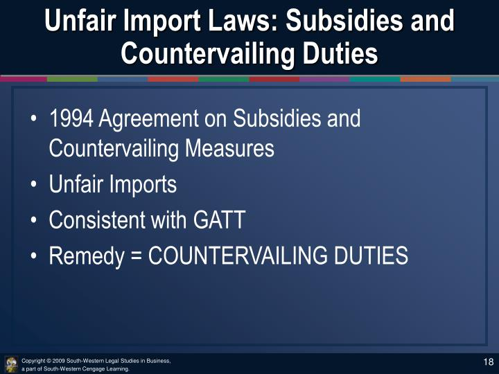 Unfair Import Laws: Subsidies and Countervailing Duties