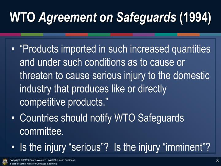 Wto agreement on safeguards 1994