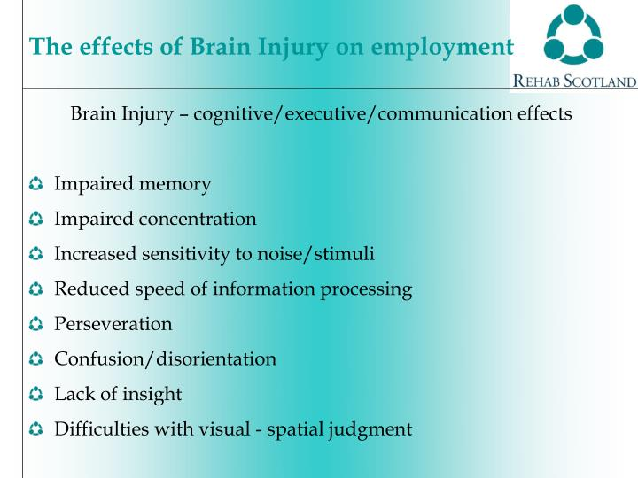 Brain Injury – cognitive/executive/communication effects