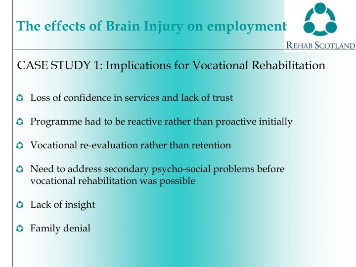 CASE STUDY 1: Implications for Vocational Rehabilitation