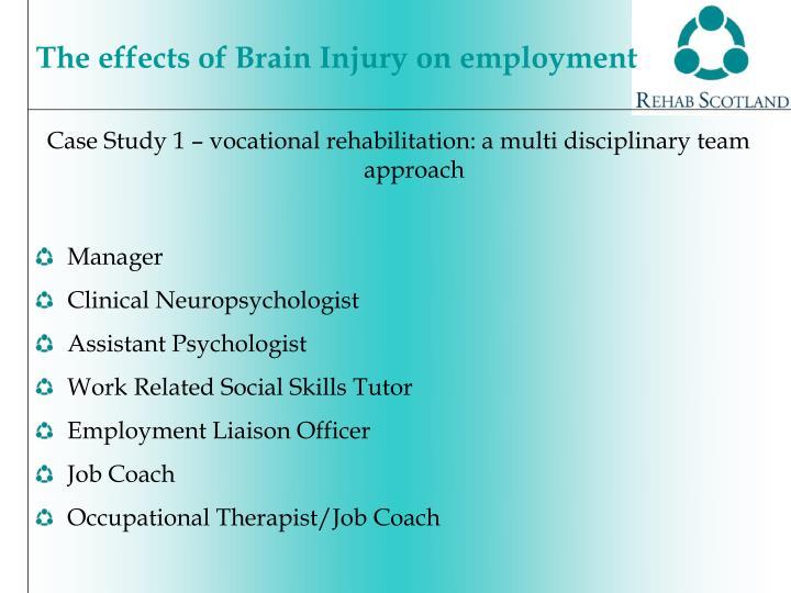 Case Study 1 – vocational rehabilitation: a multi disciplinary team approach