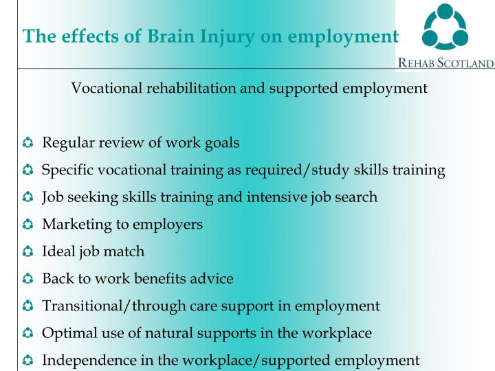 Vocational rehabilitation and supported employment