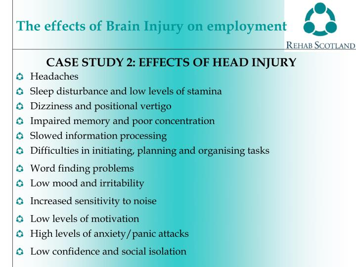 CASE STUDY 2: EFFECTS OF HEAD INJURY