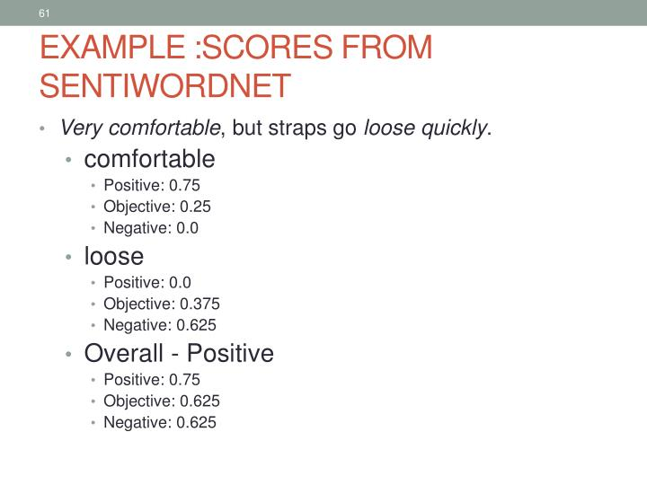 EXAMPLE :SCORES FROM SENTIWORDNET