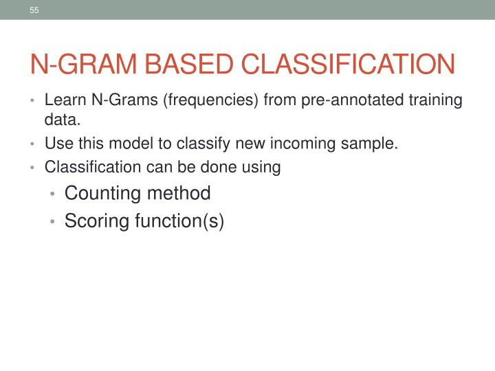 N-GRAM BASED CLASSIFICATION