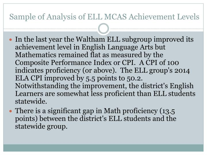 Sample of Analysis of ELL MCAS Achievement Levels