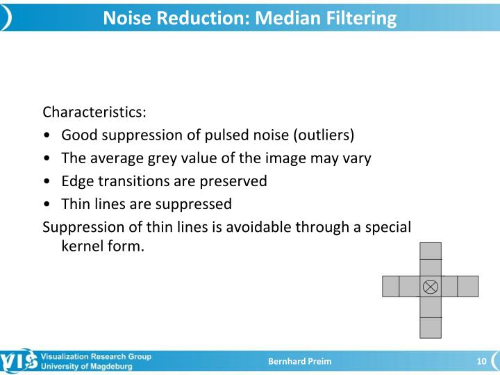 Noise Reduction: Median Filtering