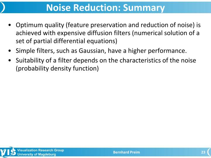 Noise Reduction: Summary