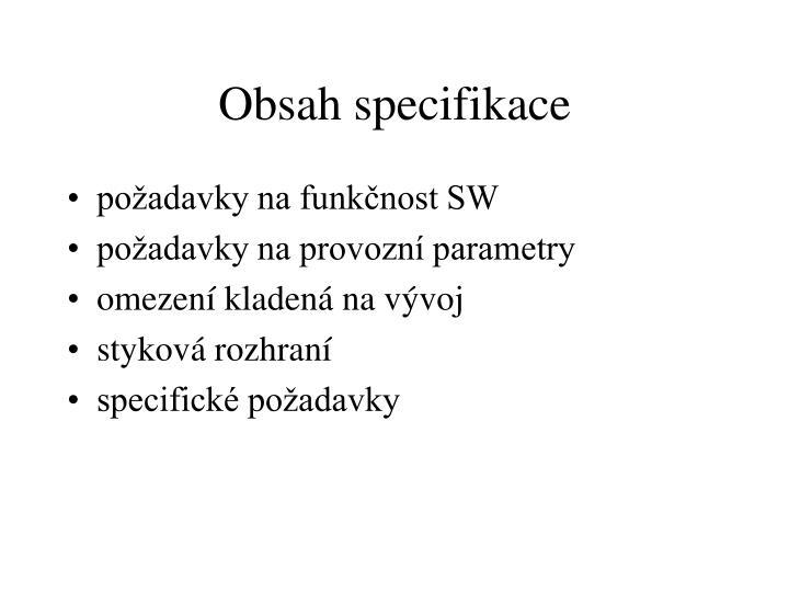 Obsah specifikace