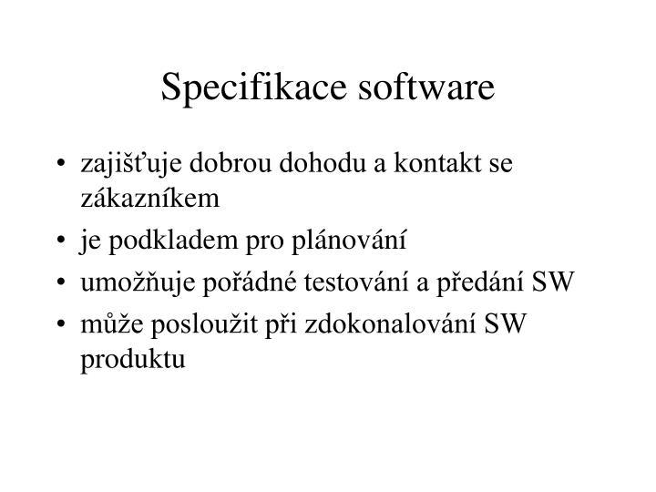 Specifikace software