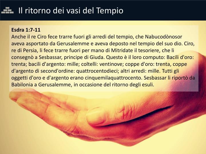 Il ritorno dei vasi del Tempio