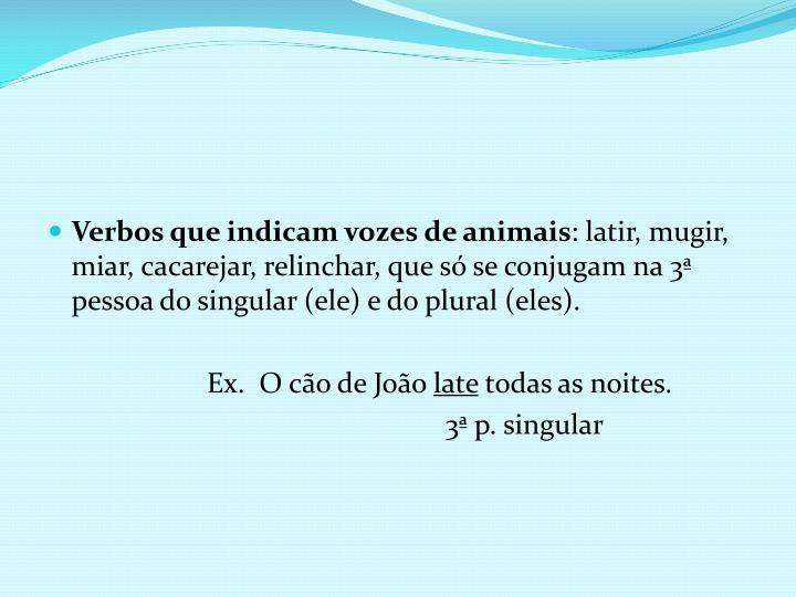 Verbos que indicam vozes de animais