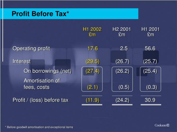 Profit Before Tax*