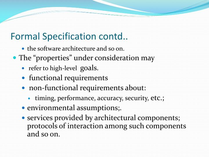 Formal Specification contd..