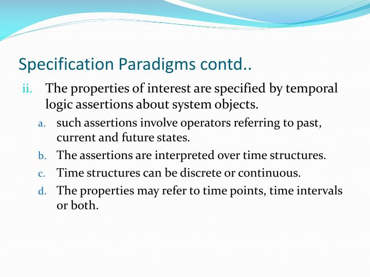 Specification Paradigms contd..