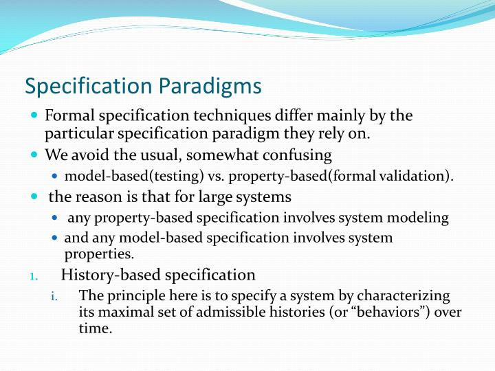 Specification Paradigms