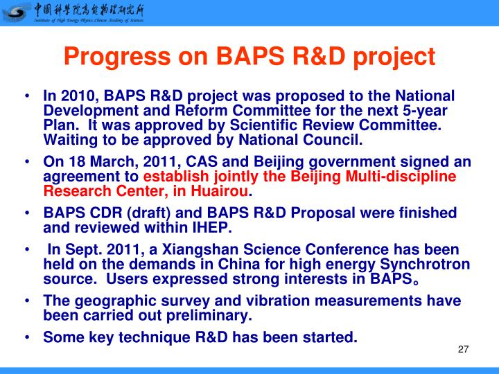 Progress on BAPS R&D project