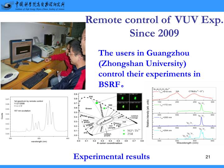 Remote control of VUV Exp.